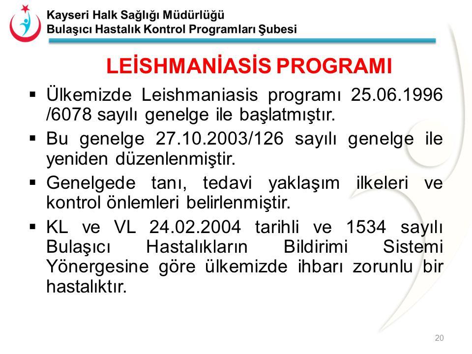 LEİSHMANİASİS PROGRAMI  Ülkemizde Leishmaniasis programı 25.06.1996 /6078 sayılı genelge ile başlatmıştır.  Bu genelge 27.10.2003/126 sayılı genelge