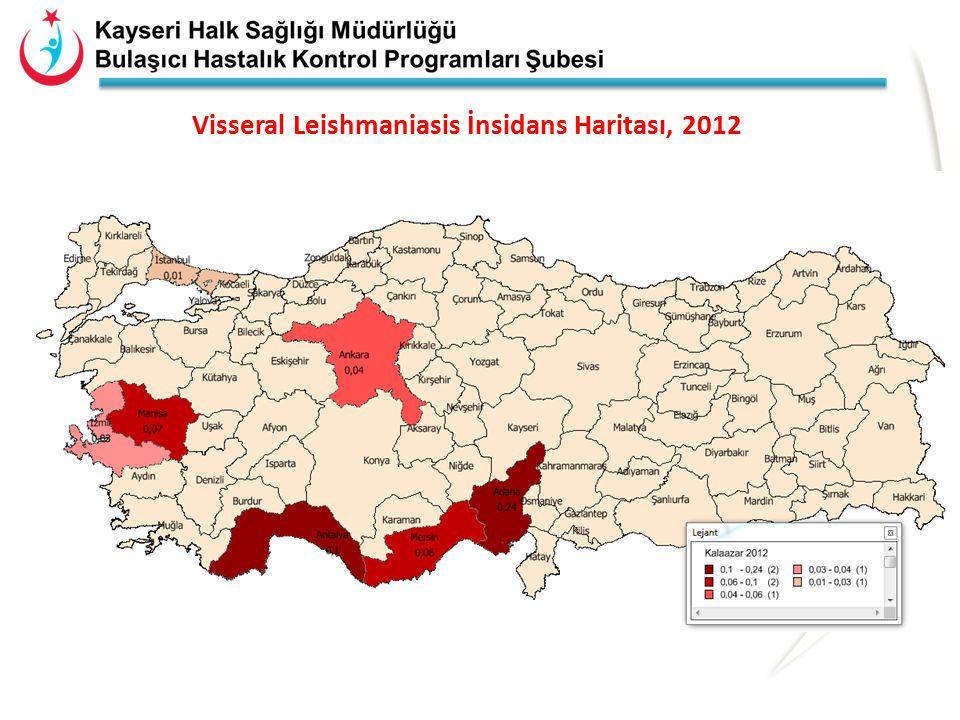 Visseral Leishmaniasis İnsidans Haritası, 2012