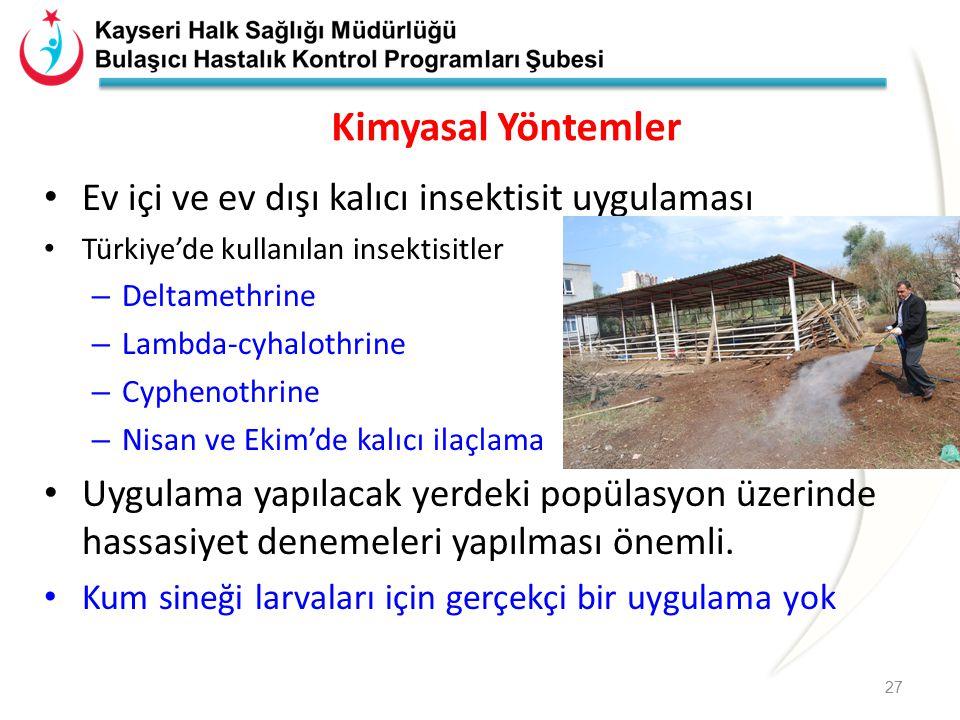 Kimyasal Yöntemler Ev içi ve ev dışı kalıcı insektisit uygulaması Türkiye'de kullanılan insektisitler – Deltamethrine – Lambda-cyhalothrine – Cyphenot