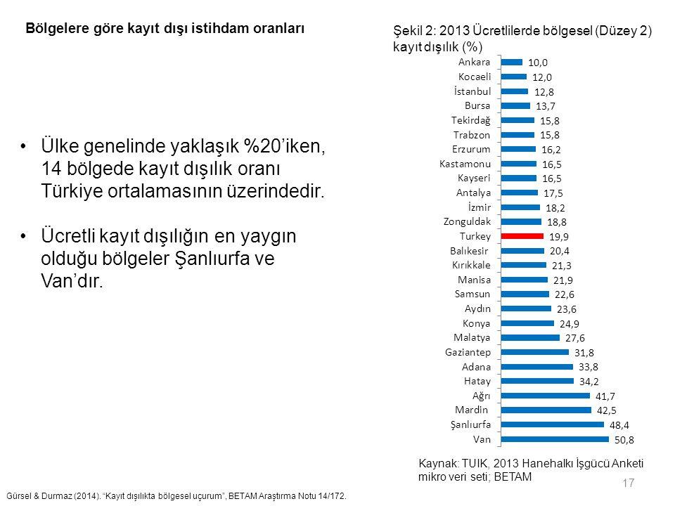 17 Ülke genelinde yaklaşık %20'iken, 14 bölgede kayıt dışılık oranı Türkiye ortalamasının üzerindedir. Ücretli kayıt dışılığın en yaygın olduğu bölgel
