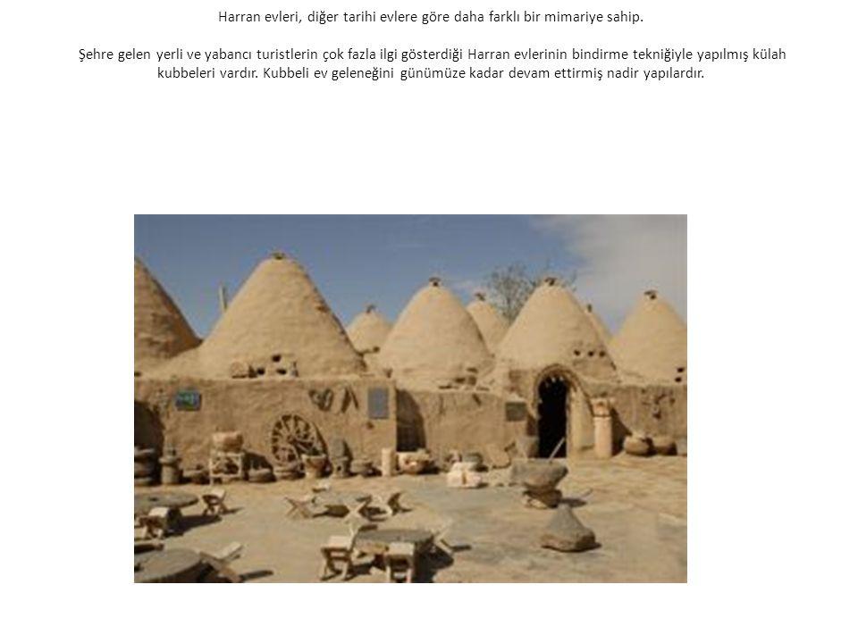Harran evleri, diğer tarihi evlere göre daha farklı bir mimariye sahip. Şehre gelen yerli ve yabancı turistlerin çok fazla ilgi gösterdiği Harran evle