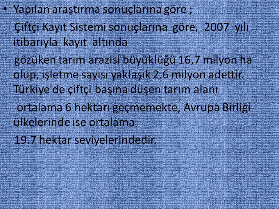 Kaynaklar: http://www.hkmo.org.tr/ekler/e840aa9583592e7_ek.pdf http://www.maligundem.com/gundem/haberdetay.asp?ID=287 http://www.tarimreformu.gov.tr/Icerik.aspx?MenuID=225 http://www.alierdi.com/akademik_site/sunu/ar_duz/01_a_duz.pdf http://www.bilimveteknoloji.info/tarim-endustrisi/ http://www.geoks.com.tr/proje-hizmetlerimiz.aspx Türkiye de arazi toplulaştırma sempozyumu (Ferruh YILDIZ, Zahit SELVİ,S.Savaş DURDURAN) Türkiye de arazi toplulaştırması (TMMOB, HKMO, ANKARA-2000) Tarım arazilerinin korunması ve etkin kullanılmasına yönelik politikalar (Pınar TOPÇU)
