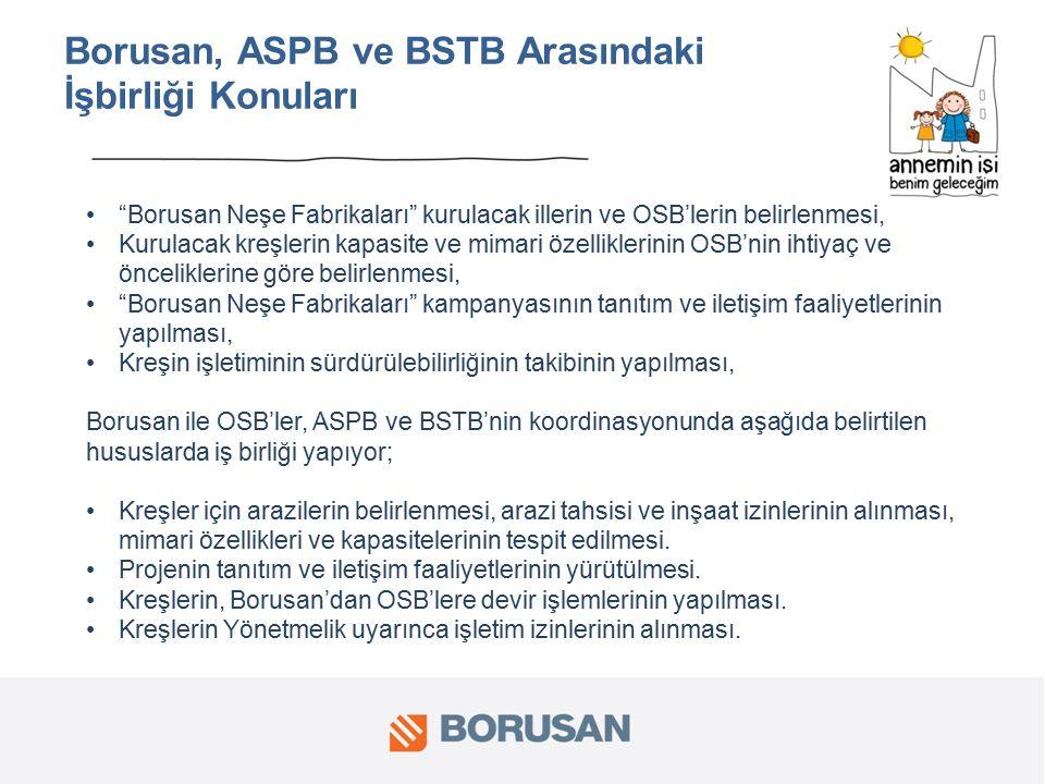 Borusan, ASPB ve BSTB Arasındaki İşbirliği Konuları Borusan Neşe Fabrikaları kurulacak illerin ve OSB'lerin belirlenmesi, Kurulacak kreşlerin kapasite ve mimari özelliklerinin OSB'nin ihtiyaç ve önceliklerine göre belirlenmesi, Borusan Neşe Fabrikaları kampanyasının tanıtım ve iletişim faaliyetlerinin yapılması, Kreşin işletiminin sürdürülebilirliğinin takibinin yapılması, Borusan ile OSB'ler, ASPB ve BSTB'nin koordinasyonunda aşağıda belirtilen hususlarda iş birliği yapıyor; Kreşler için arazilerin belirlenmesi, arazi tahsisi ve inşaat izinlerinin alınması, mimari özellikleri ve kapasitelerinin tespit edilmesi.
