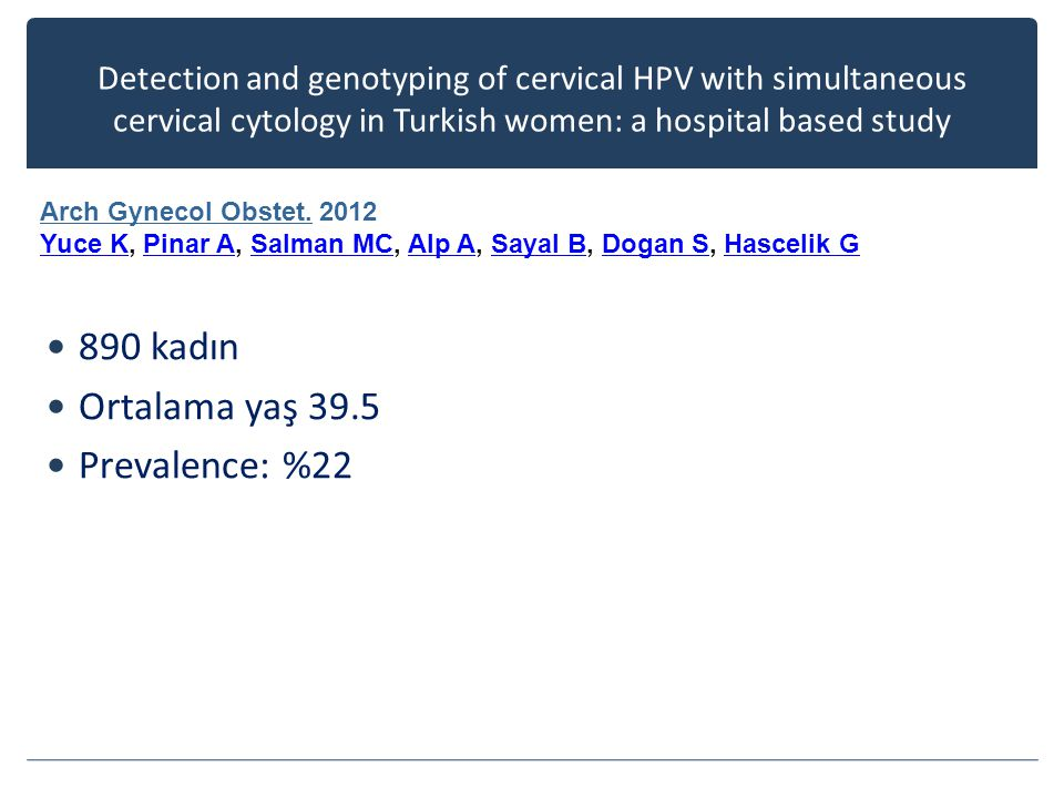 Detection and genotyping of cervical HPV with simultaneous cervical cytology in Turkish women: a hospital based study 890 kadın Ortalama yaş 39.5 Prevalence: %22 Arch Gynecol Obstet.