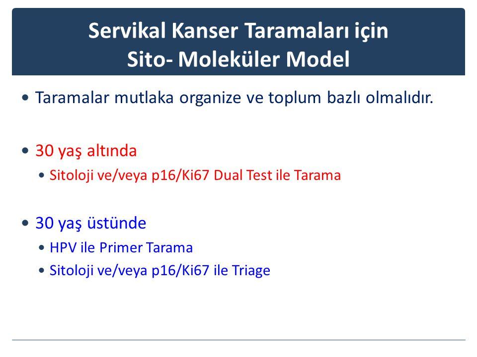 Servikal Kanser Taramaları için Sito- Moleküler Model Taramalar mutlaka organize ve toplum bazlı olmalıdır.