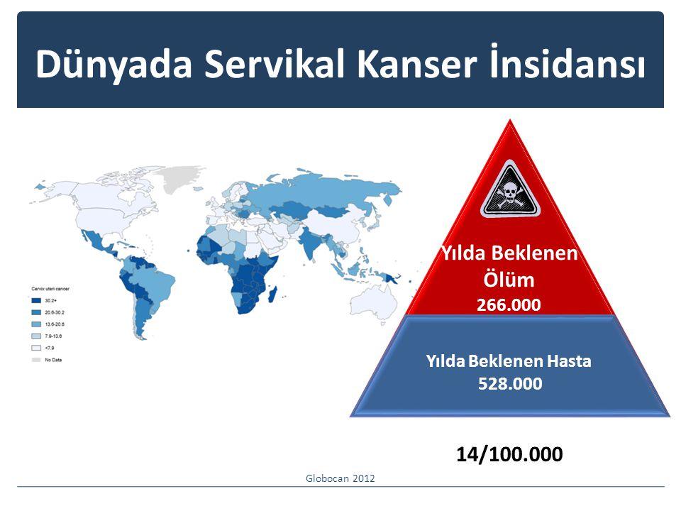 Dünyada Servikal Kanser İnsidansı Globocan 2012 Yılda Beklenen Ölüm 266.000 Yılda Beklenen Hasta 528.000 14/100.000