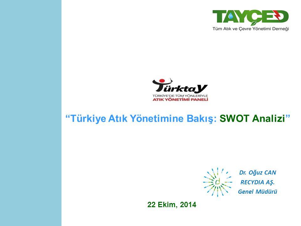 Türkiye Atık Yönetimine Bakış: SWOT Analizi 22 Ekim, 2014 Dr. Oğuz CAN RECYDIA AŞ. Genel Müdürü