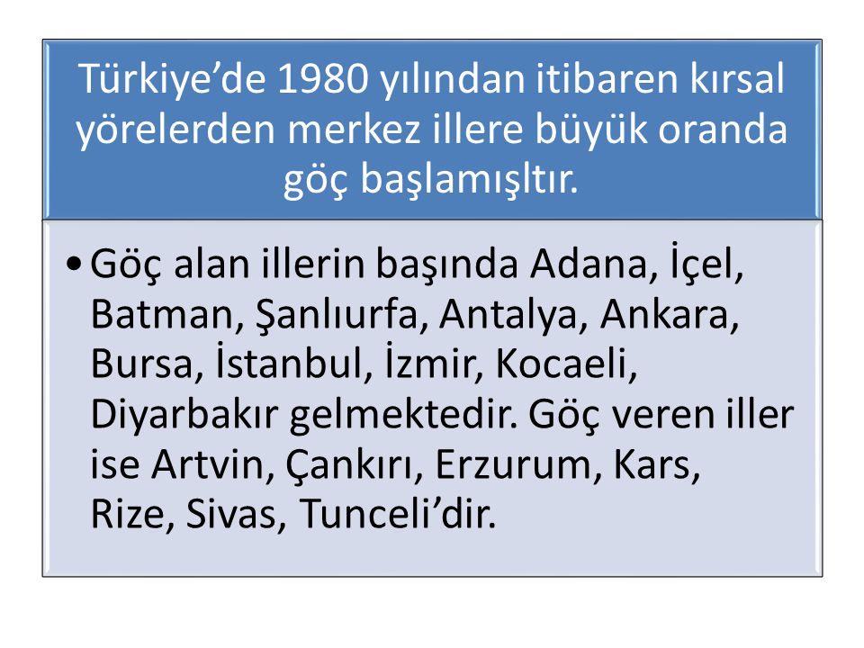 Türkiye'de 1980 yılından itibaren kırsal yörelerden merkez illere büyük oranda göç başlamışltır.