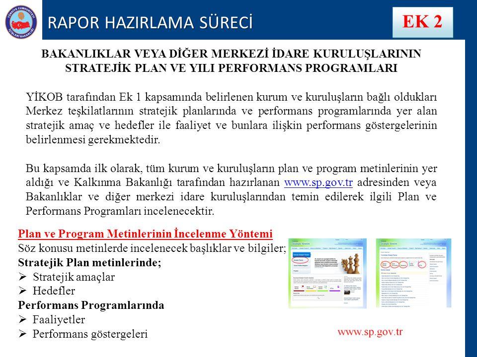RAPOR HAZIRLAMA SÜRECİ EK 2 BAKANLIKLAR VEYA DİĞER MERKEZİ İDARE KURULUŞLARININ STRATEJİK PLAN VE YILI PERFORMANS PROGRAMLARI YİKOB tarafından Ek 1 kapsamında belirlenen kurum ve kuruluşların bağlı oldukları Merkez teşkilatlarının stratejik planlarında ve performans programlarında yer alan stratejik amaç ve hedefler ile faaliyet ve bunlara ilişkin performans göstergelerinin belirlenmesi gerekmektedir.