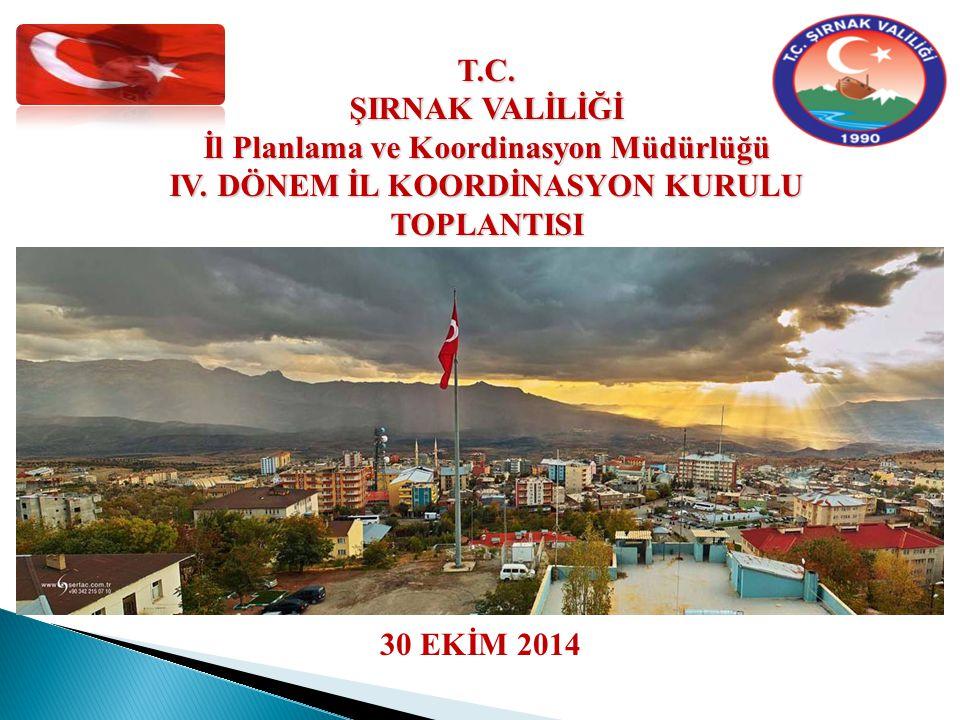 30 EKİM 2014 T.C. ŞIRNAK VALİLİĞİ İl Planlama ve Koordinasyon Müdürlüğü IV.