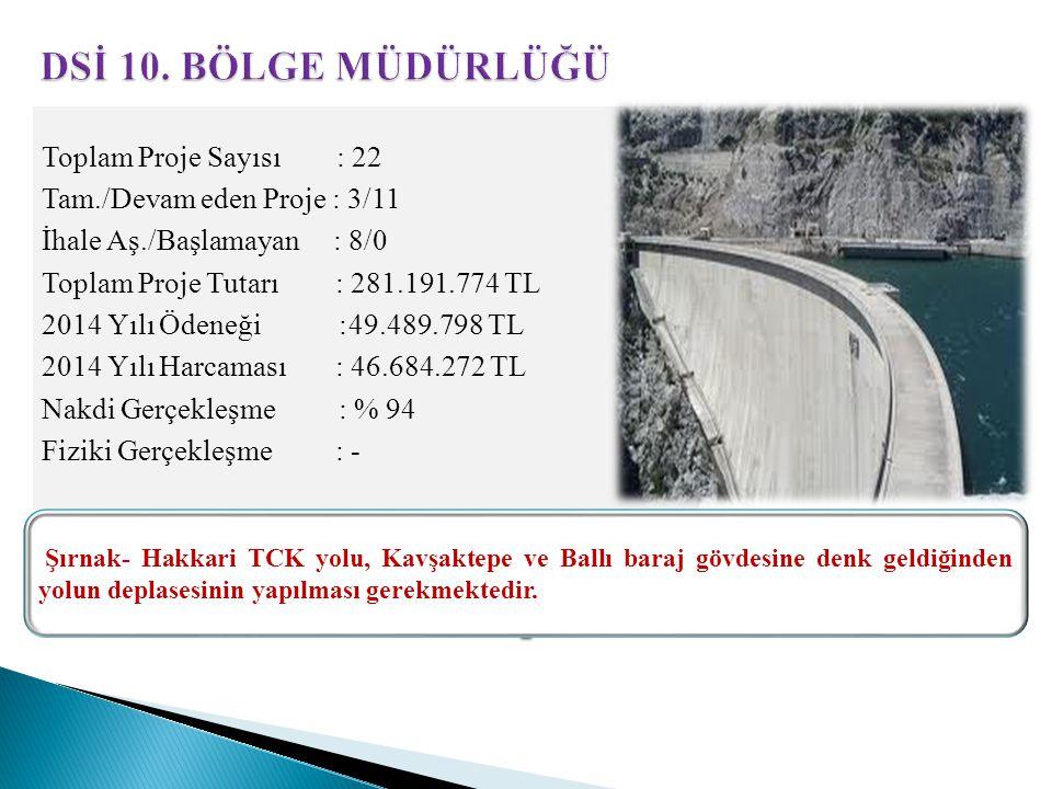 Toplam Proje Sayısı : 22 Tam./Devam eden Proje : 3/11 İhale Aş./Başlamayan : 8/0 Toplam Proje Tutarı : 281.191.774 TL 2014 Yılı Ödeneği :49.489.798 TL 2014 Yılı Harcaması : 46.684.272 TL Nakdi Gerçekleşme : % 94 Fiziki Gerçekleşme : - Şırnak- Hakkari TCK yolu, Kavşaktepe ve Ballı baraj gövdesine denk geldiğinden yolun deplasesinin yapılması gerekmektedir.