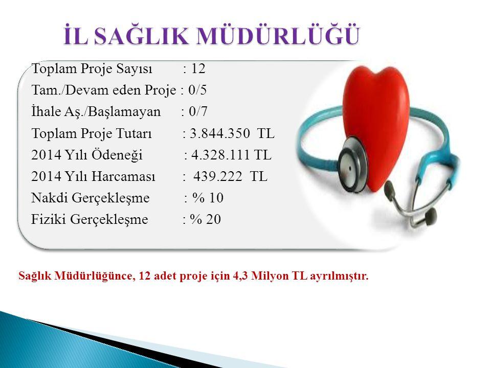 Sağlık Müdürlüğünce, 12 adet proje için 4,3 Milyon TL ayrılmıştır.