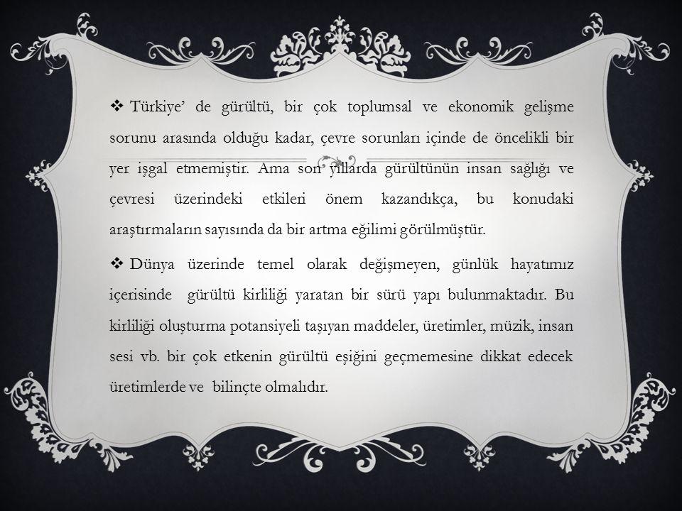  Türkiye' de gürültü, bir çok toplumsal ve ekonomik gelişme sorunu arasında olduğu kadar, çevre sorunları içinde de öncelikli bir yer işgal etmemişti