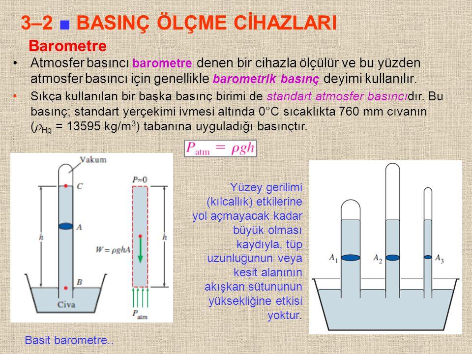 12 Barometre Atmosfer basıncı barometre denen bir cihazla ölçülür ve bu yüzden atmosfer basıncı için genellikle barometrik basınç deyimi kullanılır. S