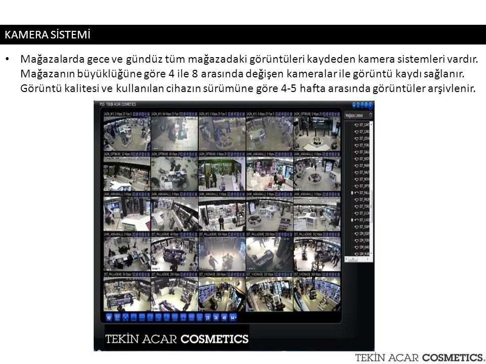 Mağazalarda gece ve gündüz tüm mağazadaki görüntüleri kaydeden kamera sistemleri vardır. Mağazanın büyüklüğüne göre 4 ile 8 arasında değişen kameralar