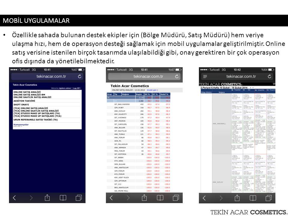 Özellikle sahada bulunan destek ekipler için (Bölge Müdürü, Satış Müdürü) hem veriye ulaşma hızı, hem de operasyon desteği sağlamak için mobil uygulam