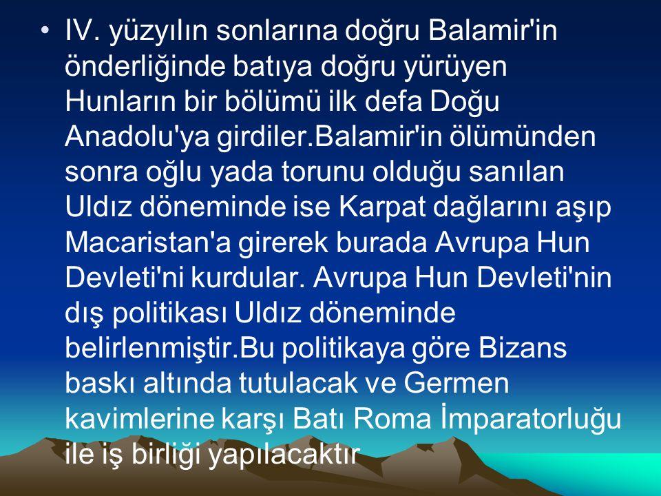 IV. yüzyılın sonlarına doğru Balamir'in önderliğinde batıya doğru yürüyen Hunların bir bölümü ilk defa Doğu Anadolu'ya girdiler.Balamir'in ölümünden s