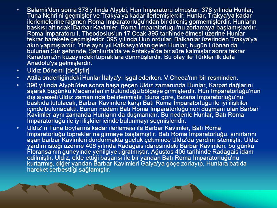 Balamir'den sonra 378 yılında Alypbi, Hun İmparatoru olmuştur. 378 yılında Hunlar, Tuna Nehri'ni geçmişler ve Trakya'ya kadar ilerlemişlerdir. Hunlar,