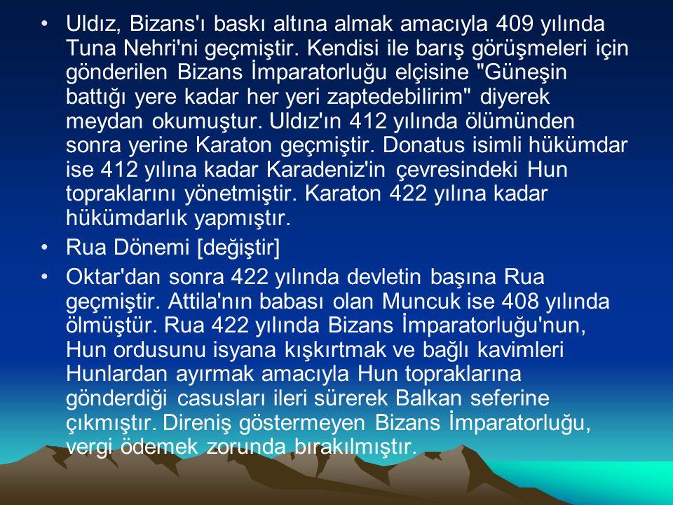 Uldız, Bizans'ı baskı altına almak amacıyla 409 yılında Tuna Nehri'ni geçmiştir. Kendisi ile barış görüşmeleri için gönderilen Bizans İmparatorluğu el