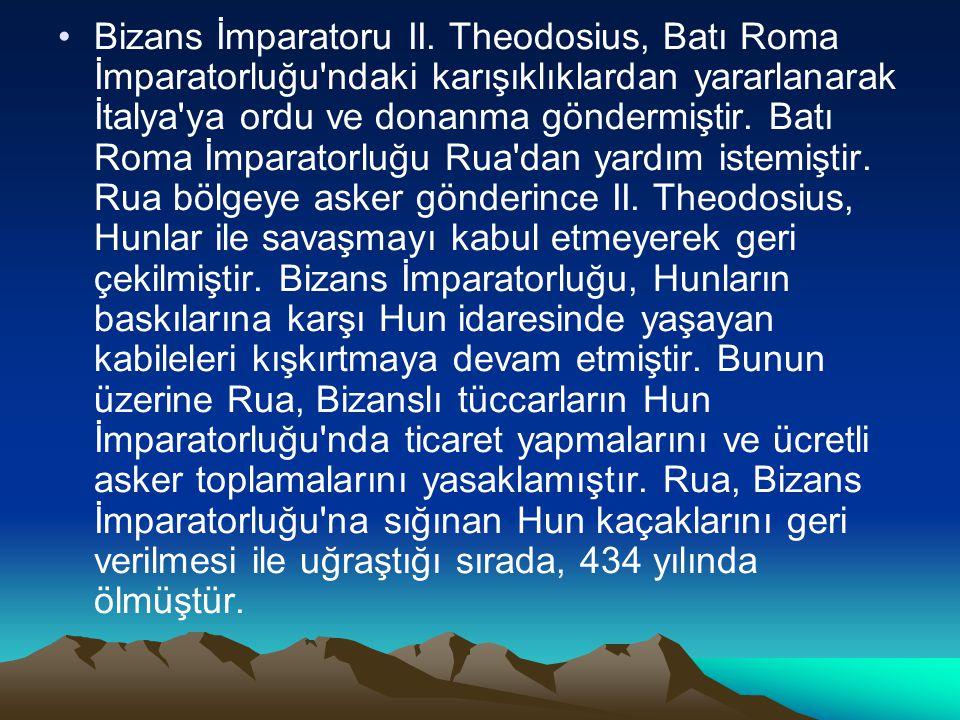 Bizans İmparatoru II. Theodosius, Batı Roma İmparatorluğu'ndaki karışıklıklardan yararlanarak İtalya'ya ordu ve donanma göndermiştir. Batı Roma İmpara