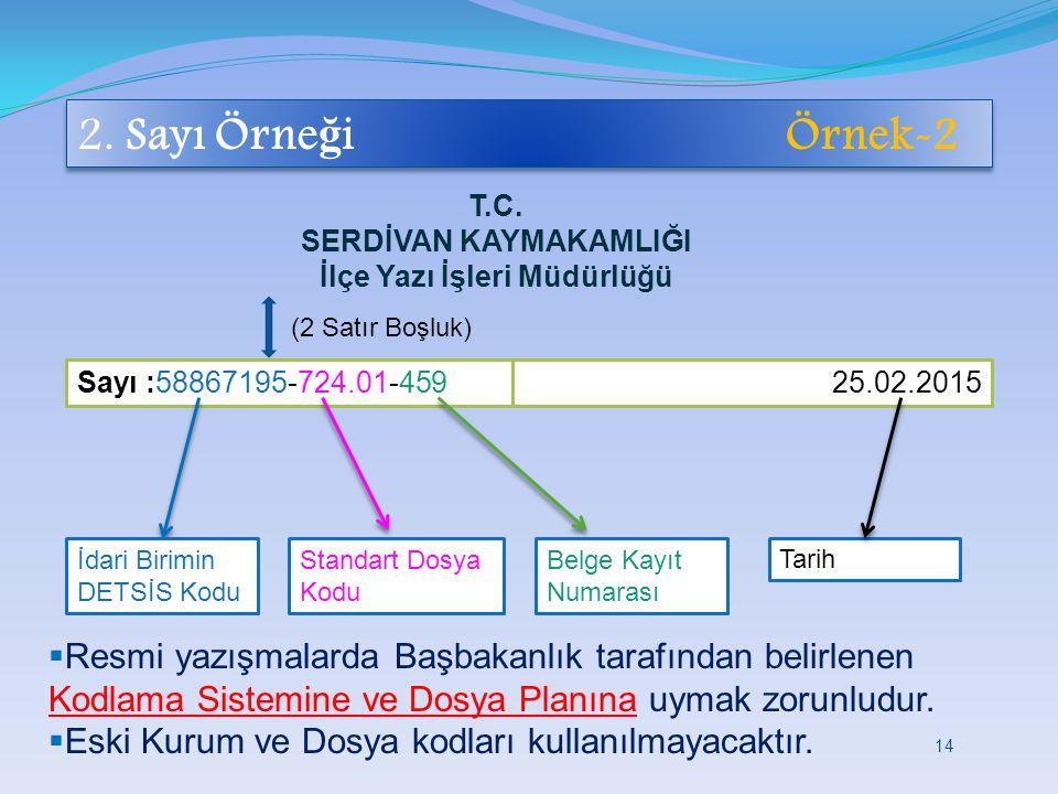 2. Sayı Örne ğ i Örnek-2  Resmi yazışmalarda Başbakanlık tarafından belirlenen Kodlama Sistemine ve Dosya Planına uymak zorunludur.  Eski Kurum ve D