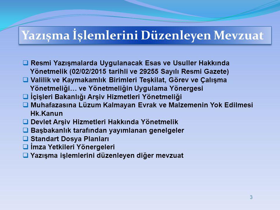 Yazışma İşlemlerini Düzenleyen Mevzuat  Resmi Yazışmalarda Uygulanacak Esas ve Usuller Hakkında Yönetmelik (02/02/2015 tarihli ve 29255 Sayılı Resmi
