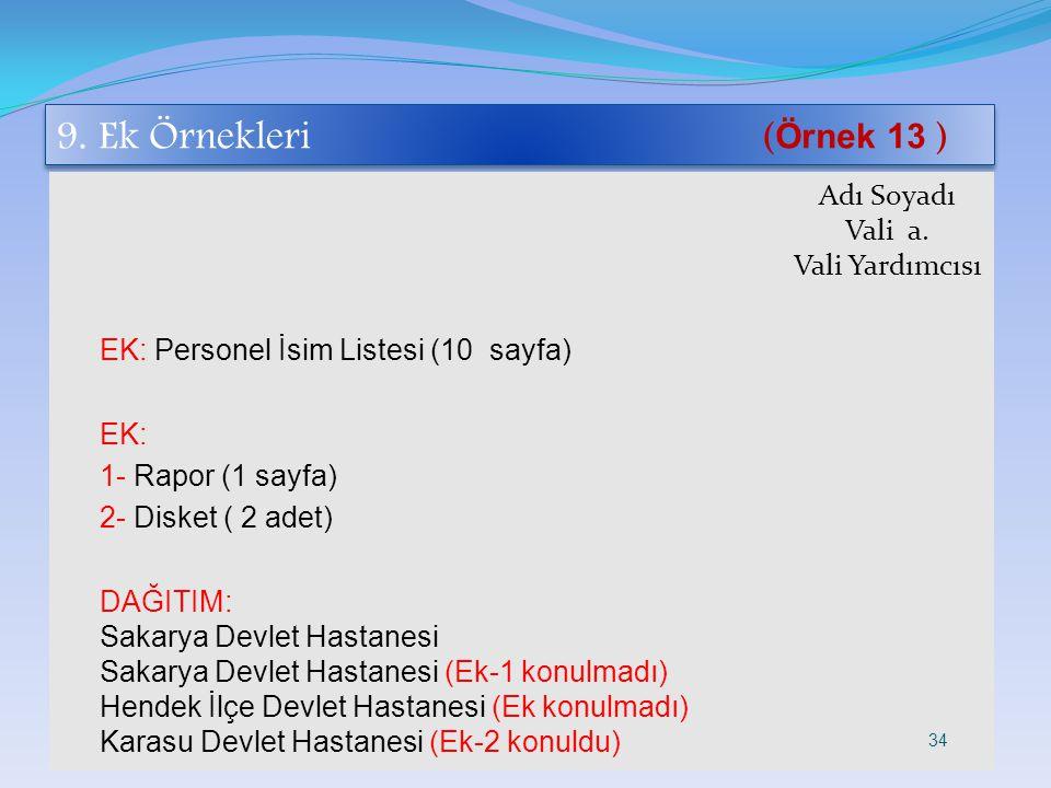9. Ek Örnekleri ( Örnek 13 ) Adı Soyadı Vali a. Vali Yardımcısı EK: Personel İsim Listesi (10 sayfa) EK: 1- Rapor (1 sayfa) 2- Disket ( 2 adet) DAĞITI