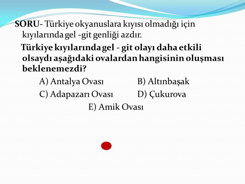SORU- Türkiye okyanuslara kıyısı olmadığı için kıyılarında gel -git genliği azdır. Türkiye kıyılarında gel - git olayı daha etkili olsaydı aşağıdaki o