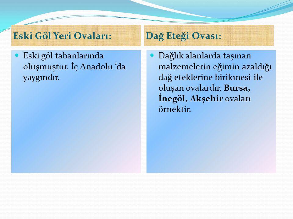 Eski Göl Yeri Ovaları: Dağ Eteği Ovası: Eski göl tabanlarında oluşmuştur. İç Anadolu 'da yaygındır. Dağlık alanlarda taşınan malzemelerin eğimin azald