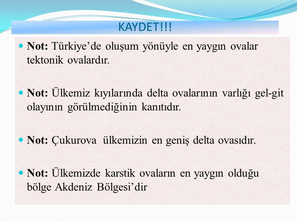 KAYDET!!! Not: Türkiye'de oluşum yönüyle en yaygın ovalar tektonik ovalardır. Not: Ülkemiz kıyılarında delta ovalarının varlığı gel-git olayının görül
