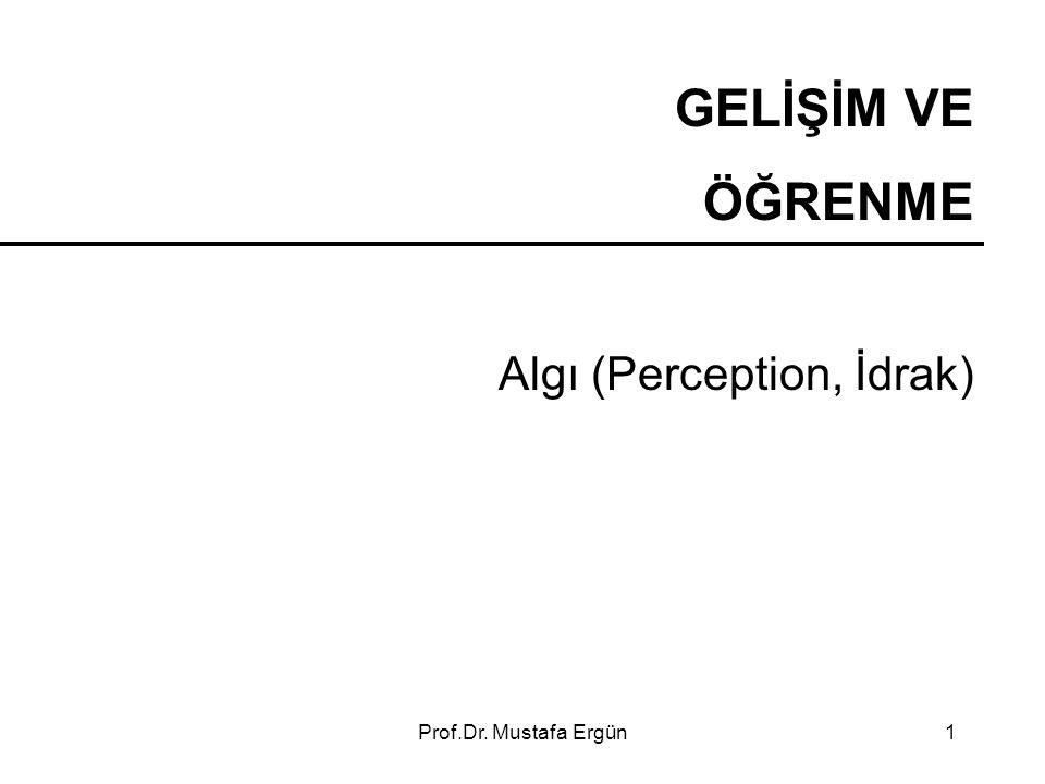 Prof.Dr. Mustafa Ergün1 GELİŞİM VE ÖĞRENME Algı (Perception, İdrak)