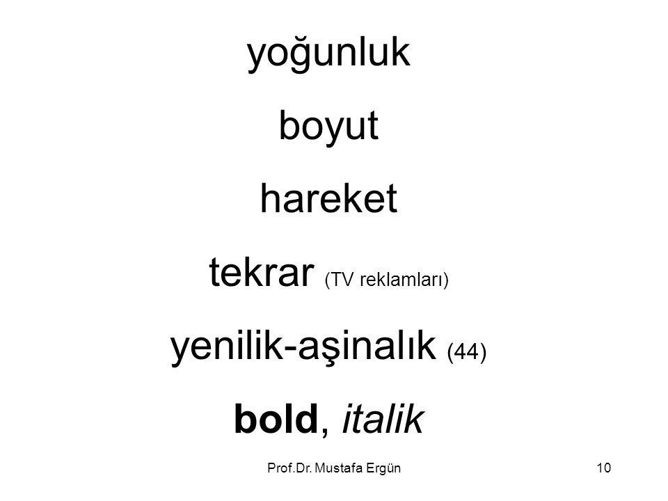 Prof.Dr. Mustafa Ergün10 yoğunluk boyut hareket tekrar (TV reklamları) yenilik-aşinalık (44) bold, italik
