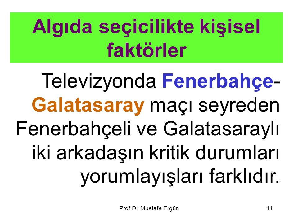 Prof.Dr. Mustafa Ergün11 Algıda seçicilikte kişisel faktörler Televizyonda Fenerbahçe- Galatasaray maçı seyreden Fenerbahçeli ve Galatasaraylı iki ark