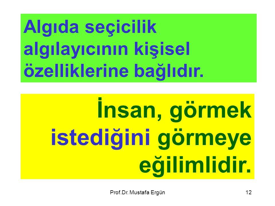 Prof.Dr. Mustafa Ergün12 Algıda seçicilik algılayıcının kişisel özelliklerine bağlıdır. İnsan, görmek istediğini görmeye eğilimlidir.