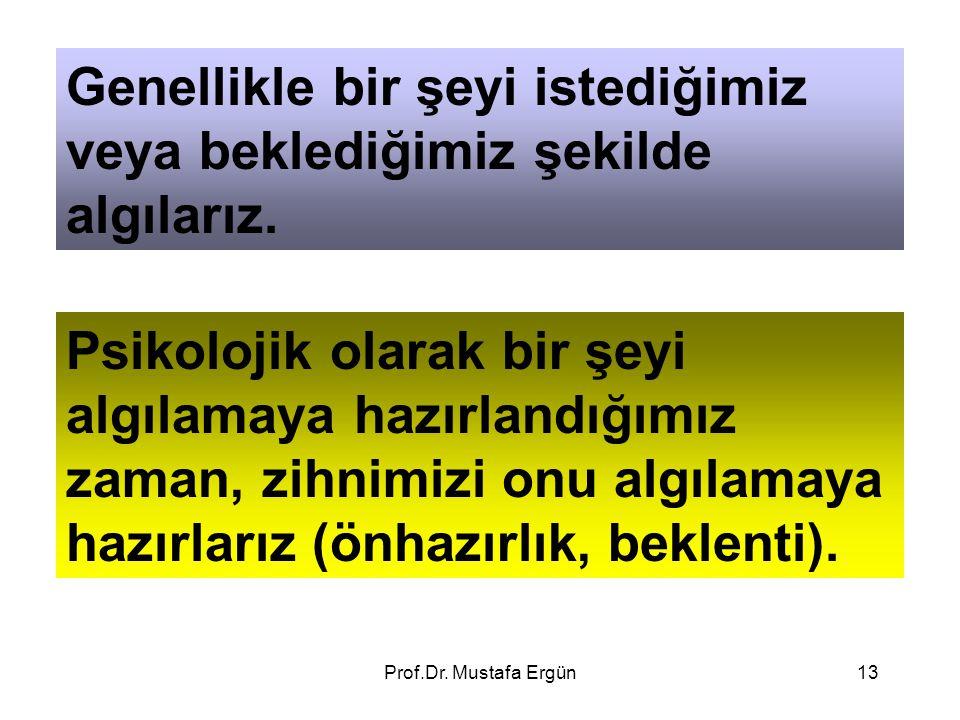 Prof.Dr. Mustafa Ergün13 Genellikle bir şeyi istediğimiz veya beklediğimiz şekilde algılarız. Psikolojik olarak bir şeyi algılamaya hazırlandığımız za