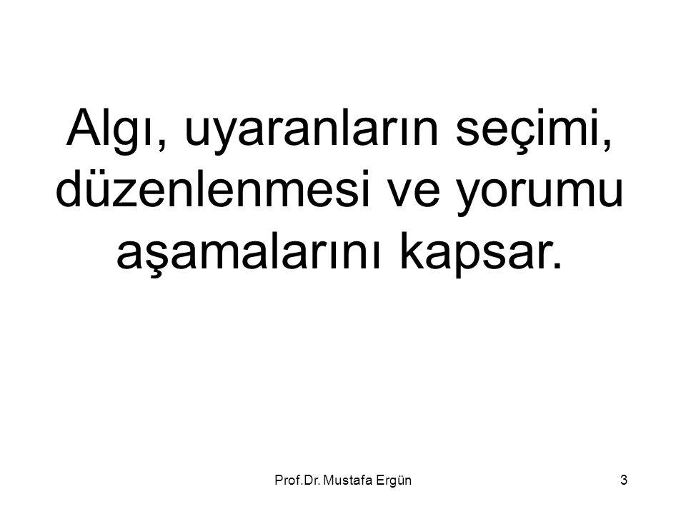 Prof.Dr. Mustafa Ergün3 Algı, uyaranların seçimi, düzenlenmesi ve yorumu aşamalarını kapsar.