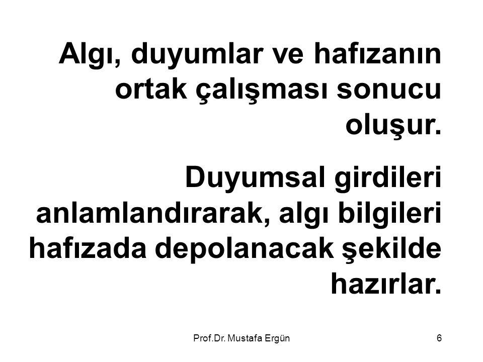 Prof.Dr. Mustafa Ergün6 Algı, duyumlar ve hafızanın ortak çalışması sonucu oluşur. Duyumsal girdileri anlamlandırarak, algı bilgileri hafızada depolan
