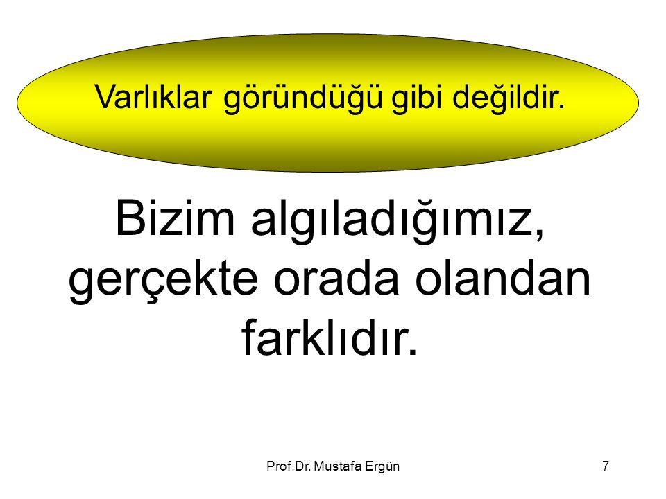 Prof.Dr. Mustafa Ergün7 Varlıklar göründüğü gibi değildir. Bizim algıladığımız, gerçekte orada olandan farklıdır.