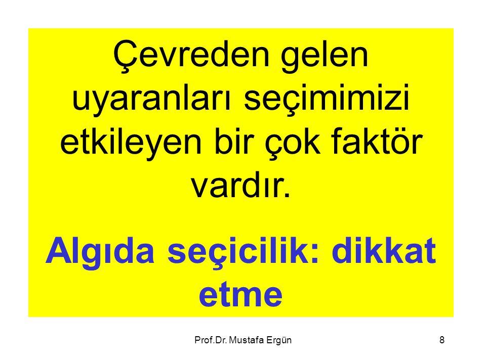 Prof.Dr. Mustafa Ergün8 Çevreden gelen uyaranları seçimimizi etkileyen bir çok faktör vardır. Algıda seçicilik: dikkat etme