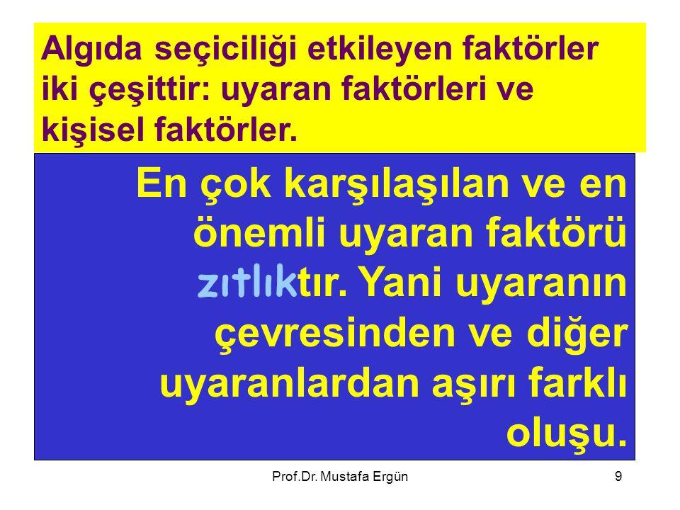 Prof.Dr. Mustafa Ergün9 Algıda seçiciliği etkileyen faktörler iki çeşittir: uyaran faktörleri ve kişisel faktörler. En çok karşılaşılan ve en önemli u