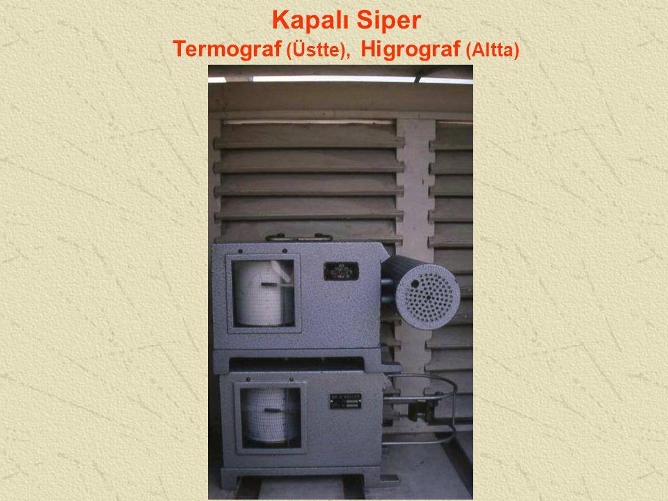 Kapalı Siper Termograf (Üstte), Higrograf (Altta)