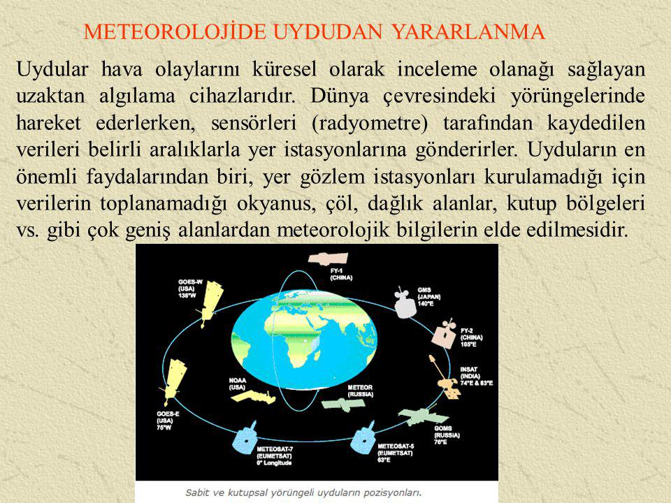 METEOROLOJİDE UYDUDAN YARARLANMA Uydular hava olaylarını küresel olarak inceleme olanağı sağlayan uzaktan algılama cihazlarıdır. Dünya çevresindeki yö