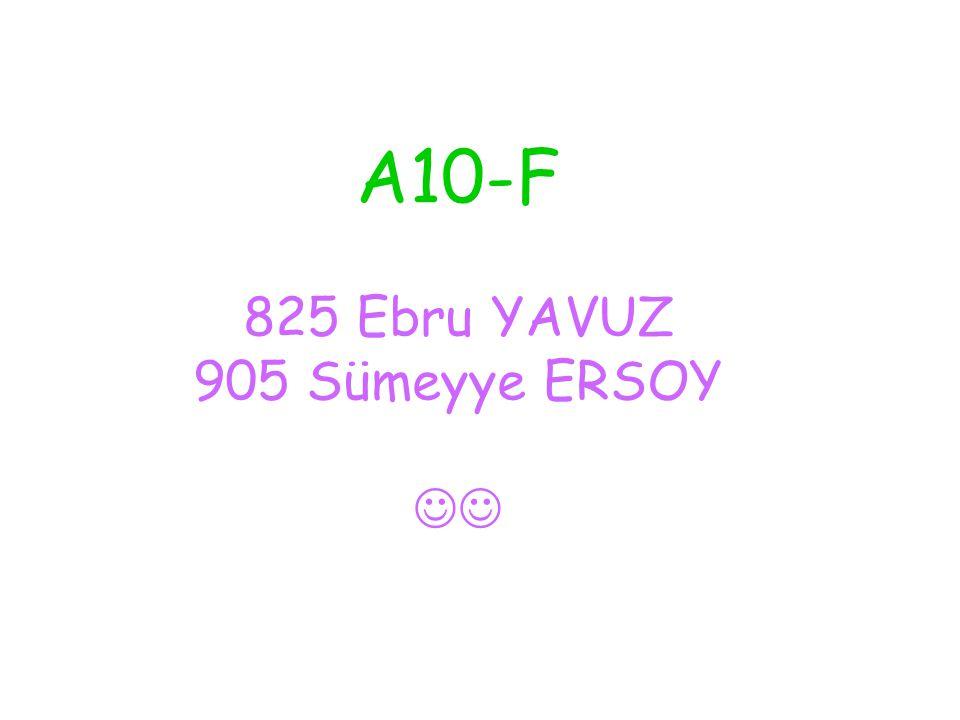 A10-F 825 Ebru YAVUZ 905 Sümeyye ERSOY