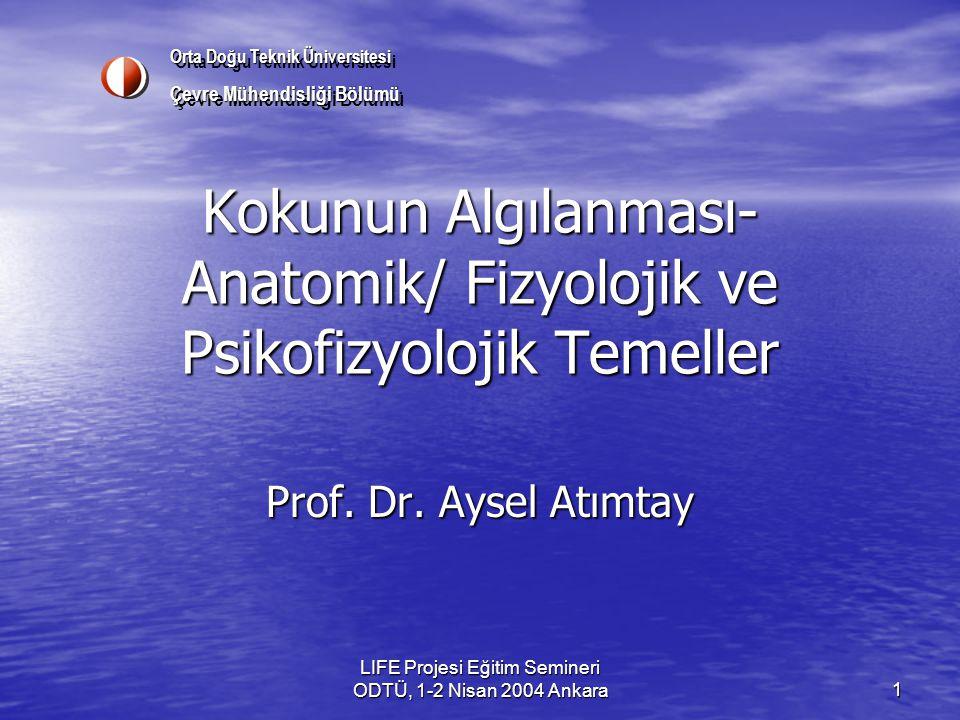LIFE Projesi Eğitim Semineri ODTÜ, 1-2 Nisan 2004 Ankara 1 Kokunun Algılanması- Anatomik/ Fizyolojik ve Psikofizyolojik Temeller Prof.