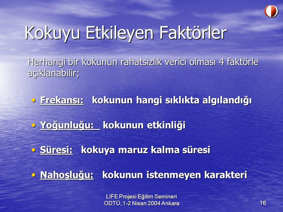 LIFE Projesi Eğitim Semineri ODTÜ, 1-2 Nisan 2004 Ankara16 Kokuyu Etkileyen Faktörler Herhangi bir kokunun rahatsızlık verici olması 4 faktörle açıklanabilir; Frekansı: kokunun hangi sıklıkta algılandığı Frekansı: kokunun hangi sıklıkta algılandığı Yoğunluğu: kokunun etkinliği Yoğunluğu: kokunun etkinliği Süresi: kokuya maruz kalma süresi Süresi: kokuya maruz kalma süresi Nahoşluğu: kokunun istenmeyen karakteri Nahoşluğu: kokunun istenmeyen karakteri