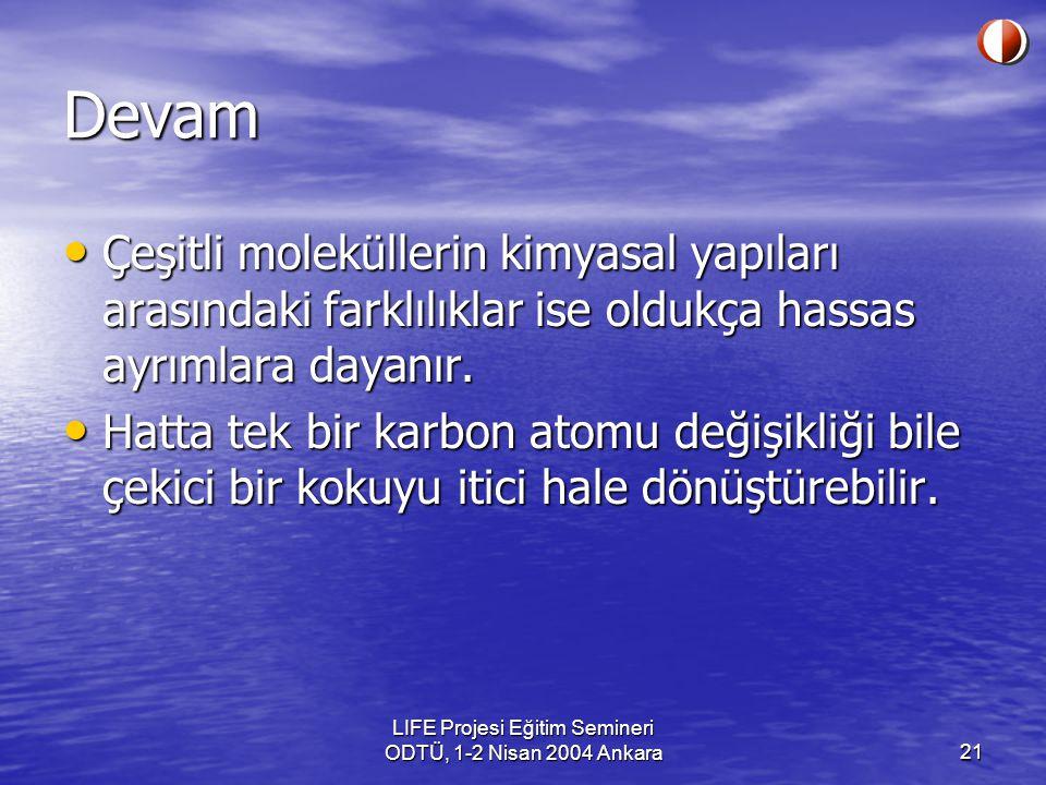 LIFE Projesi Eğitim Semineri ODTÜ, 1-2 Nisan 2004 Ankara21 Devam Çeşitli moleküllerin kimyasal yapıları arasındaki farklılıklar ise oldukça hassas ayrımlara dayanır.