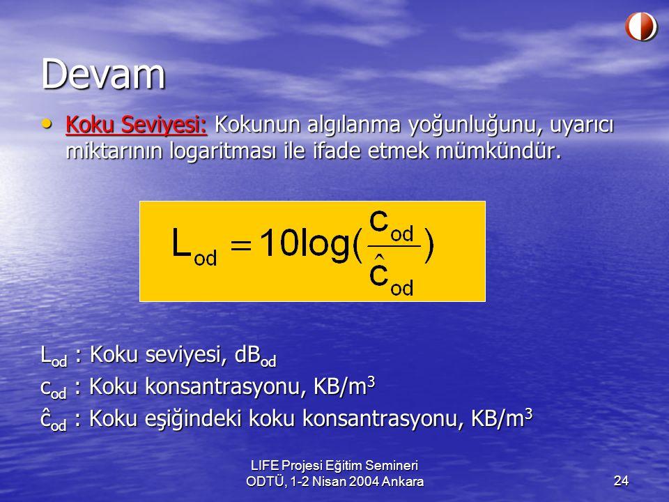 LIFE Projesi Eğitim Semineri ODTÜ, 1-2 Nisan 2004 Ankara24 Koku Seviyesi: Kokunun algılanma yoğunluğunu, uyarıcı miktarının logaritması ile ifade etmek mümkündür.