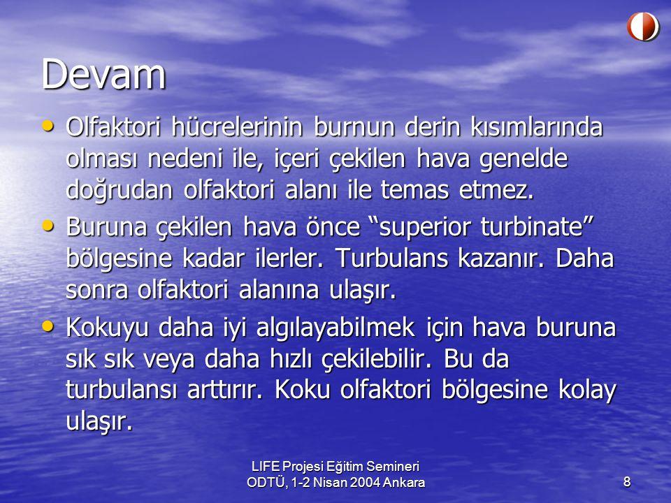 LIFE Projesi Eğitim Semineri ODTÜ, 1-2 Nisan 2004 Ankara9