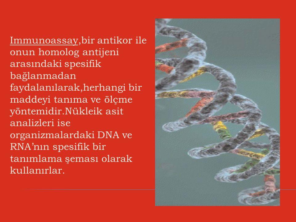 Immunoassay,bir antikor ile onun homolog antijeni arasındaki spesifik bağlanmadan faydalanılarak,herhangi bir maddeyi tanıma ve ölçme yöntemidir.Nükle