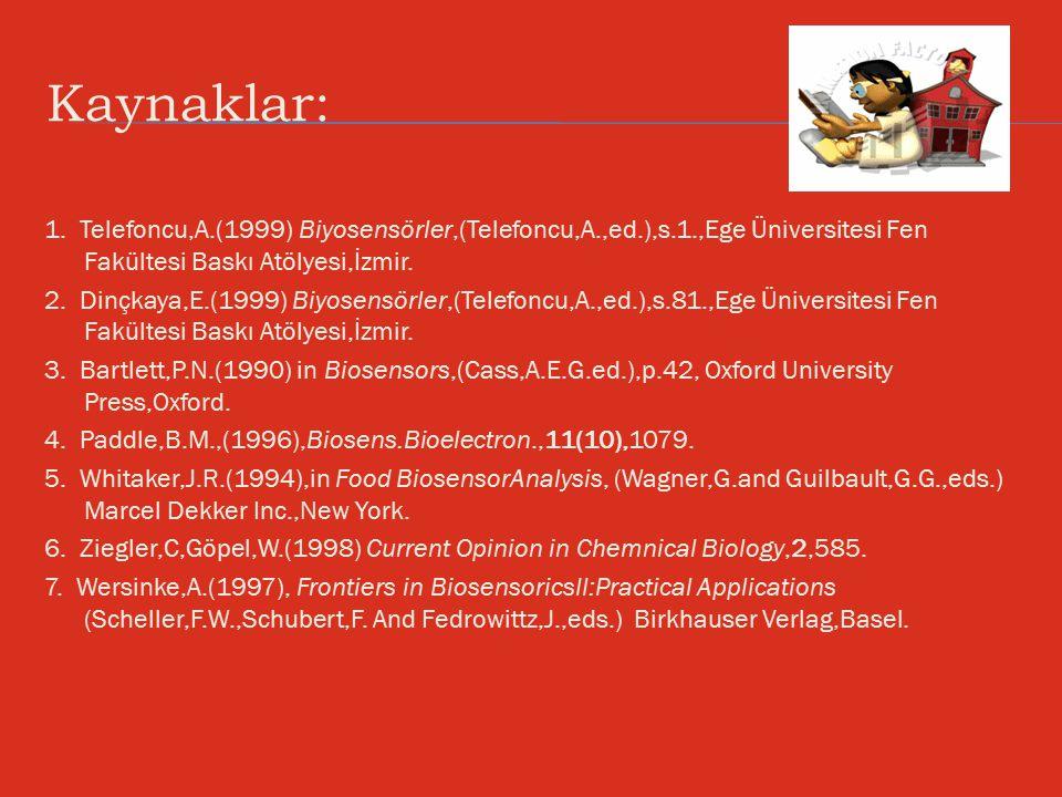 Kaynaklar: 1. Telefoncu,A.(1999) Biyosensörler,(Telefoncu,A.,ed.),s.1.,Ege Üniversitesi Fen Fakültesi Baskı Atölyesi,İzmir. 2. Dinçkaya,E.(1999) Biyos